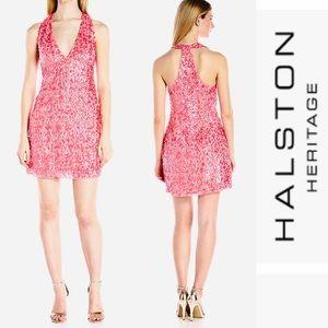 NWT HALSTON HERITAGE PINK SEQUIN MINI DRESS - 2
